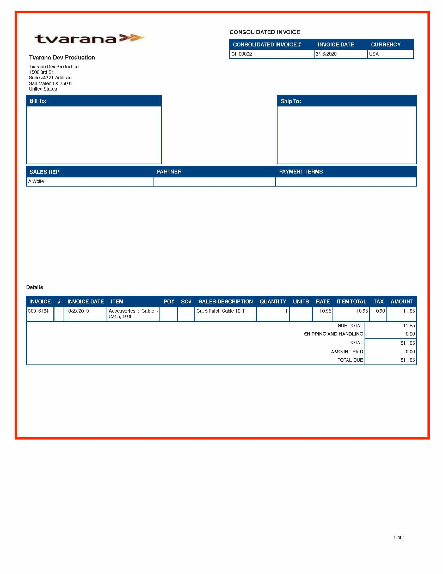 NetSuite Consolidated InvoicING PDF