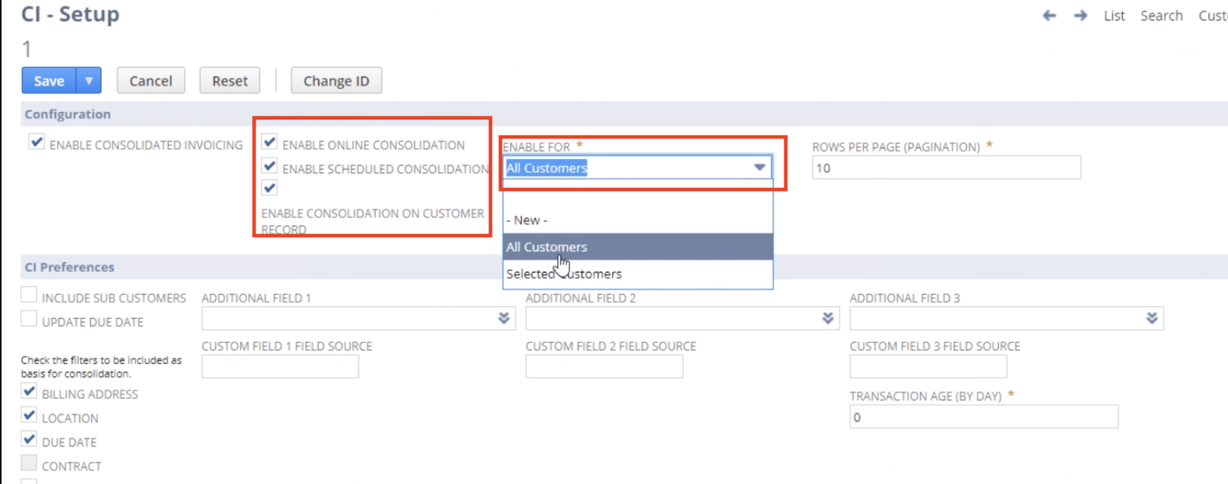 NetSuite Consolidated Invoicing Setup